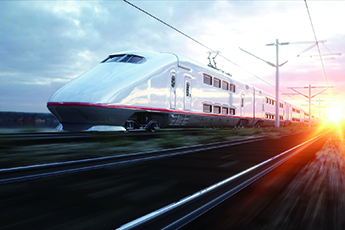 Electric passenger train. Very fast driving. journey and travel concept. 3d rendering